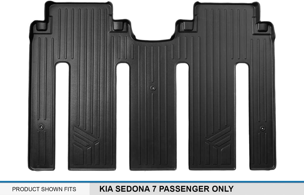 MAXLINER Floor Mats 2nd Row Liner Black for 2015-2018 Kia Sedona 7 Passenger Model Only