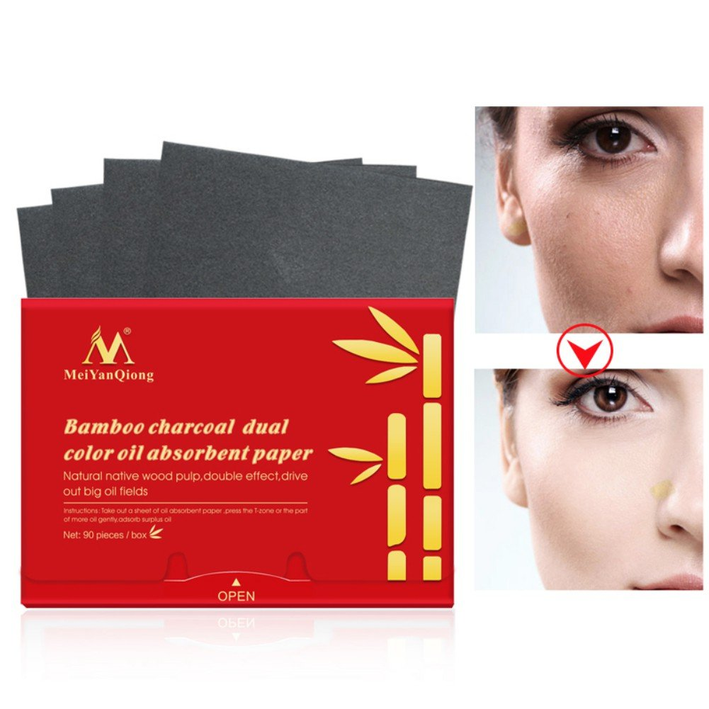 Symeas 90 Piece/Pack Natural Bamboo Charcoal Oil-Absorbing Paper Face Cleaner Oil Absorbing Tissues Oil Blotting Paper Oil Control Absorbing Blotting Paper Oil Control & Absorbing Blotting Paper Face Clean