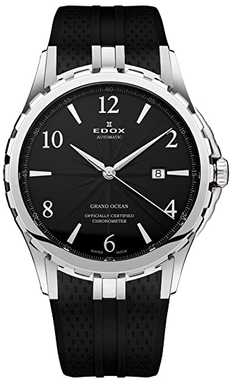 Edox Grand Ocean Automatic Chronometer Stainless Steel Mens Watch Black Dial 80077-3-NBN