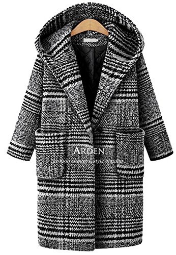 Lightweight Worsted Wool Suit (Lingswallow Women's Winter Casual Loose Wool Plaid Tweed Trench Coat Jacket With Hood Grey)