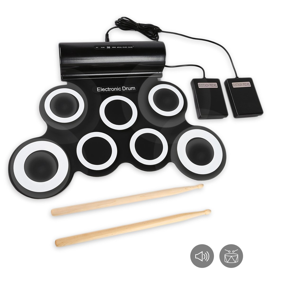 JouerNow G3001A 7 Pads Electronic Roll Up Drum Pad Kit SAINSTORE INC