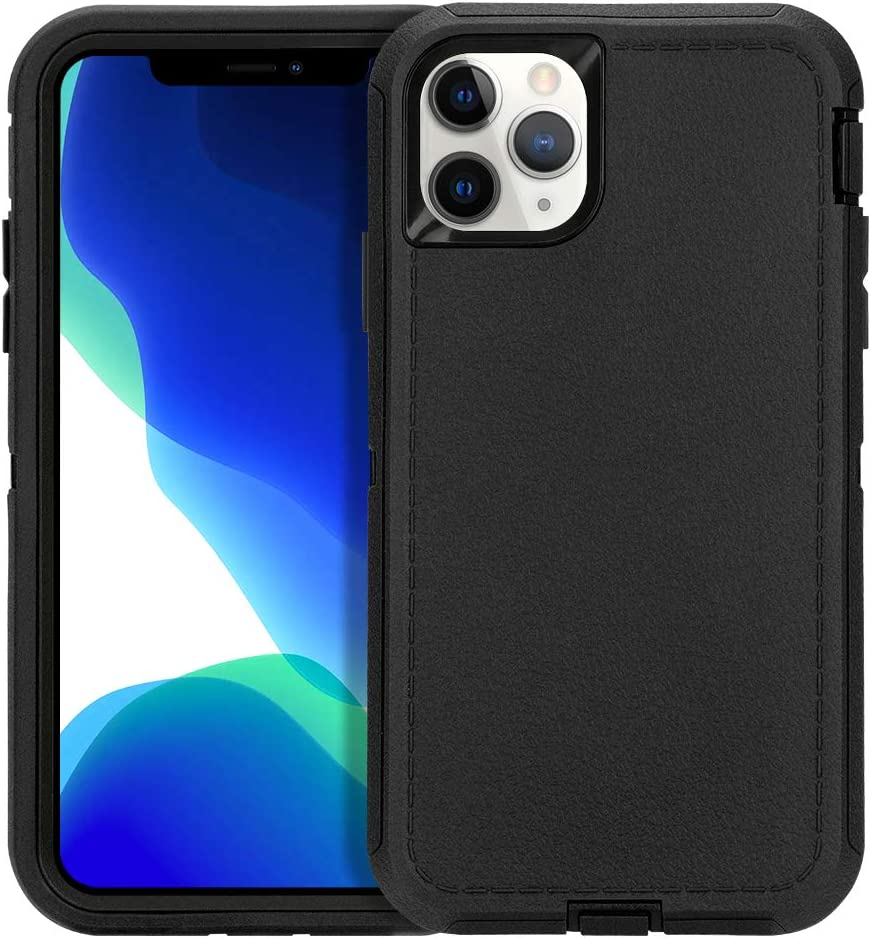 CAFEWICH Case for iPhone 11 Pro Max 6.5 inch 2019, Rugged Durable Heavy Duty 3-in-1 Shockproof Rubber Full Body Protective Cover, Phone Case for Apple iPhone 11 Pro Max (Black)
