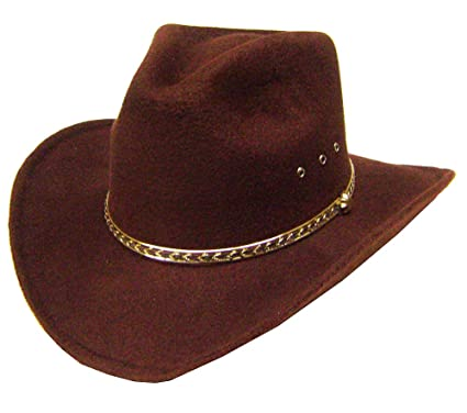 8fc1663aac2 Modestone Aussie Faux Felt Cowboy-Hut Brown   Some Sizes for Small Heads
