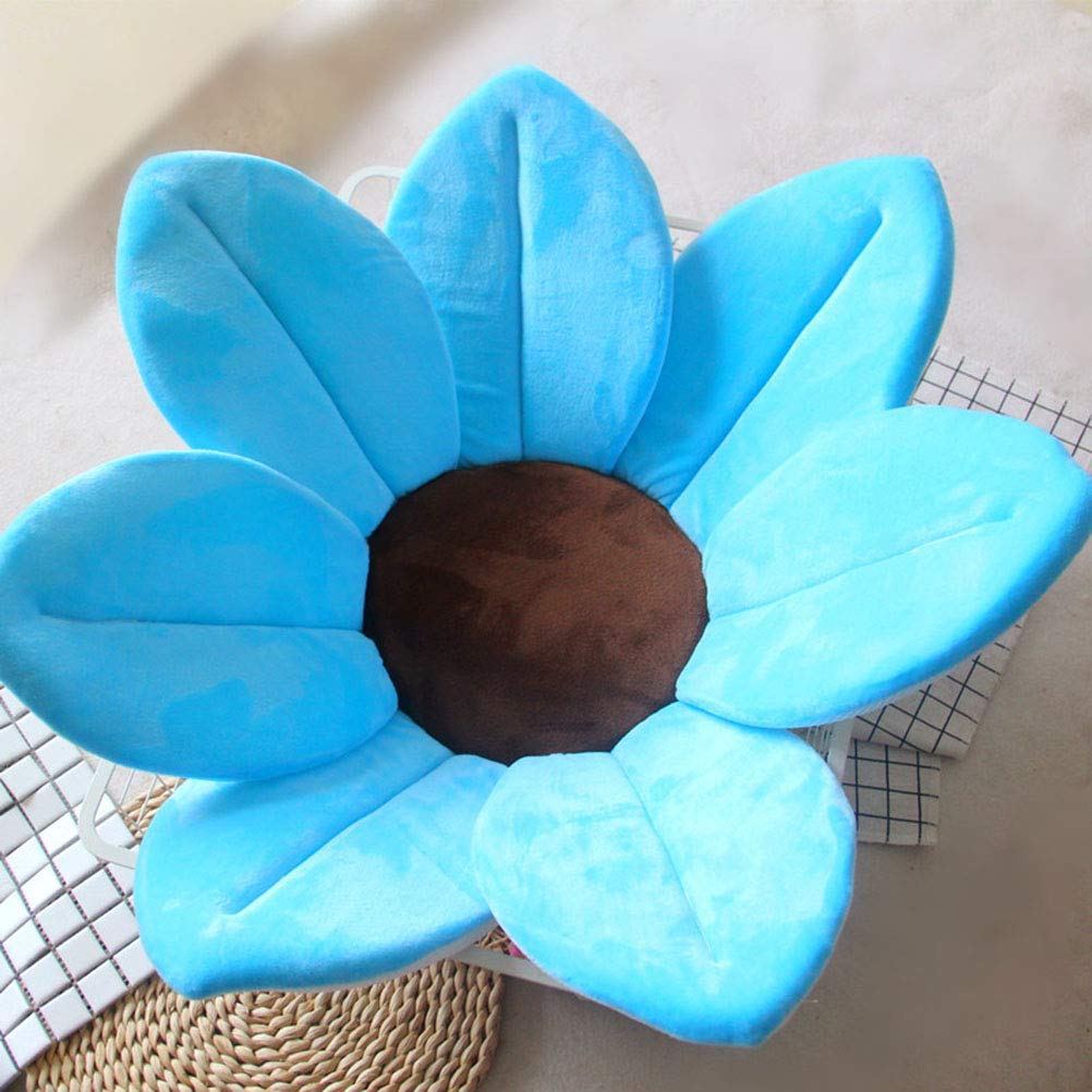 SevenAndEight Lotus Flower Bathtub Blooming Sink Bath Flower Mat Pad for Newborn Baby Infant (Blue)