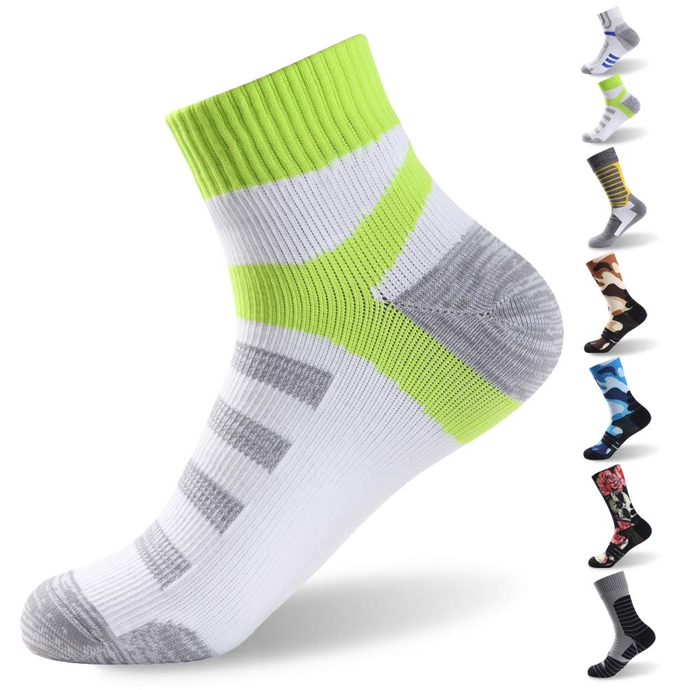 RANDY SUN Waterproof Fishing Socks, Women Ankle Athletic Running Comfort Drycool Cushioned Climbing Hiking Sock Coolmax Breathable Socks, 1 Pair-White&Green Medium