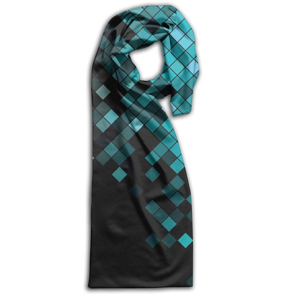 Adult Womens Scarves Mosaic Glass Blue Print Neck Accessories Polyster Neckerchief,Neckwear Lightweight Shawl Scarf