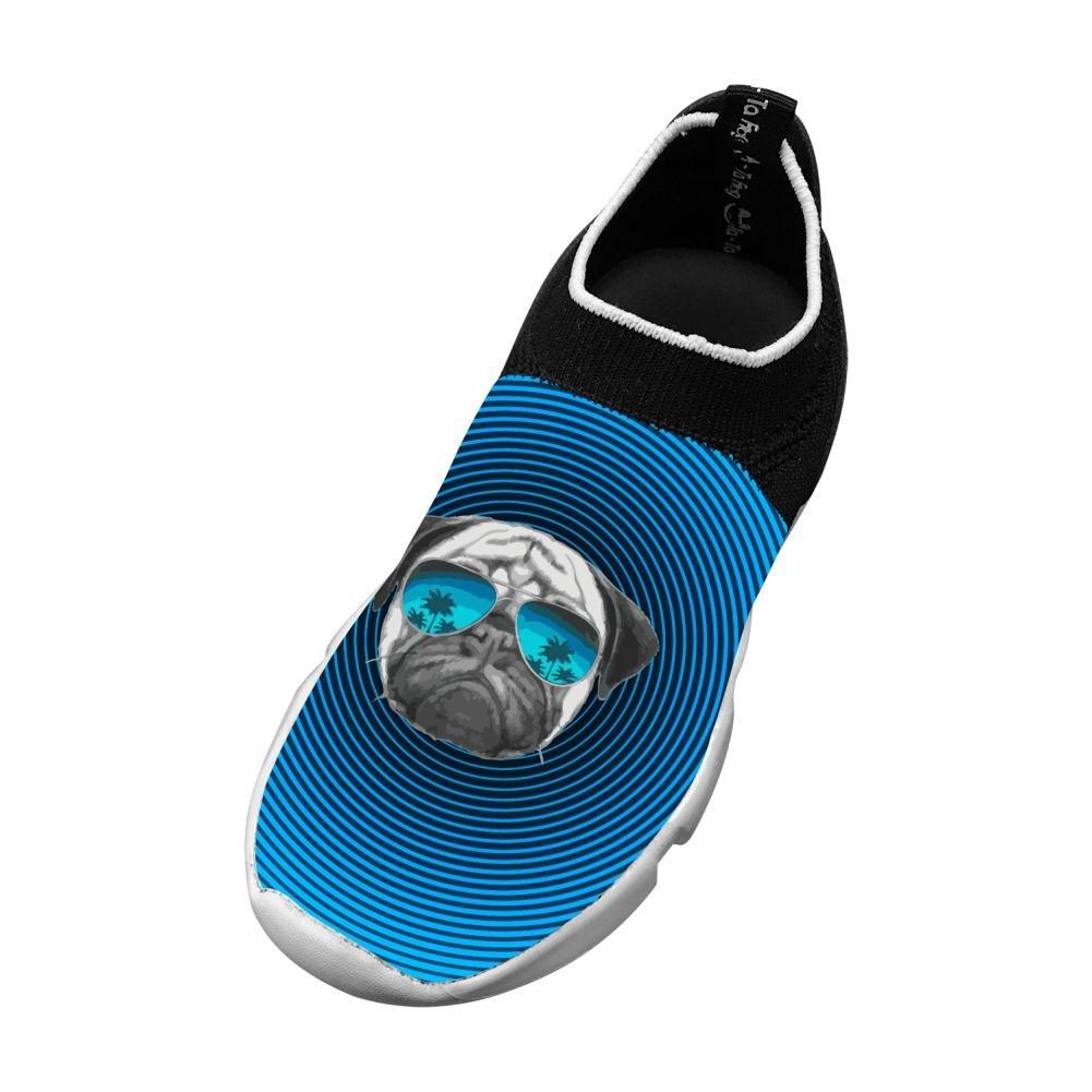 Kids Pug Wearing Sunglasses Lightweight Flyknit Sneakers Running Shoes