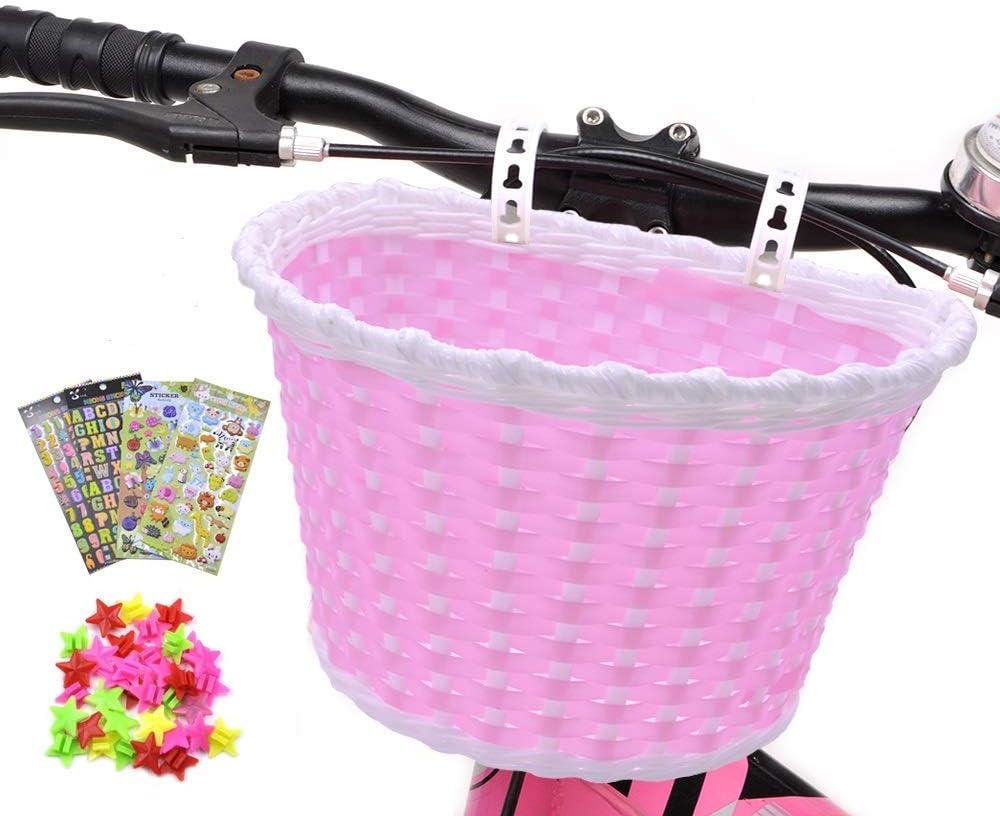ANZOME Cesta de bicicleta para niña, manillar, cesta de bicicleta para niños con serpentinas para niños, juego de regalo para niños, color rojo rosa, S, Rosado: Amazon.es: Deportes y aire libre