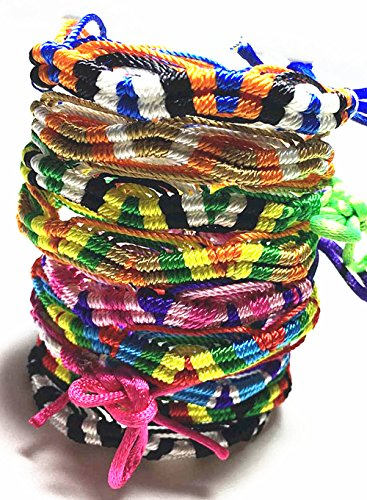 TECH-P Creative Life Hand-Woven Bracelet Pattern Adjustable One Size Fit All | Good Luck|Friendship Bracelet-10 Pack Different Color
