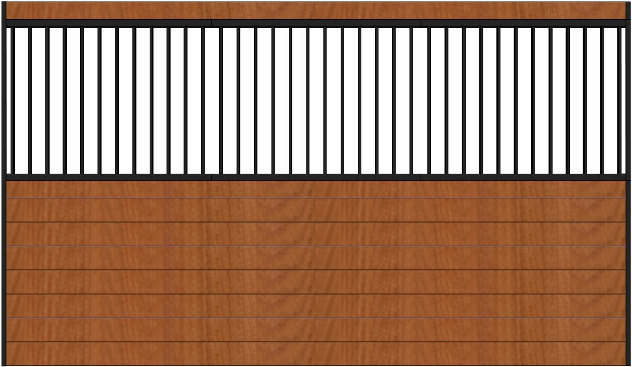 PS12GS 12ft wide grilled horse stall side wall. Black Steel