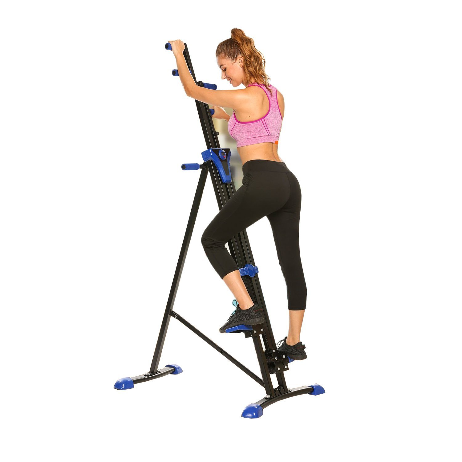 Cosway Folding Vertical Climber Stepper Gym Exercise Fitness Equipment Cardio Workout Training Machine, US Stock (Blue)