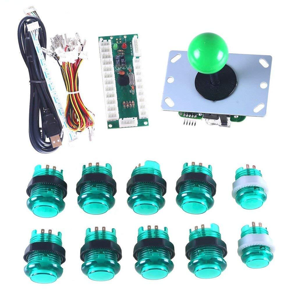 1X 8 Way Joystick 10x LED Illuminated Push Buttons for Mame Jamma Arcade Project Green Kits Marwey LED Arcade DIY Parts 1X Zero Delay USB Encoder