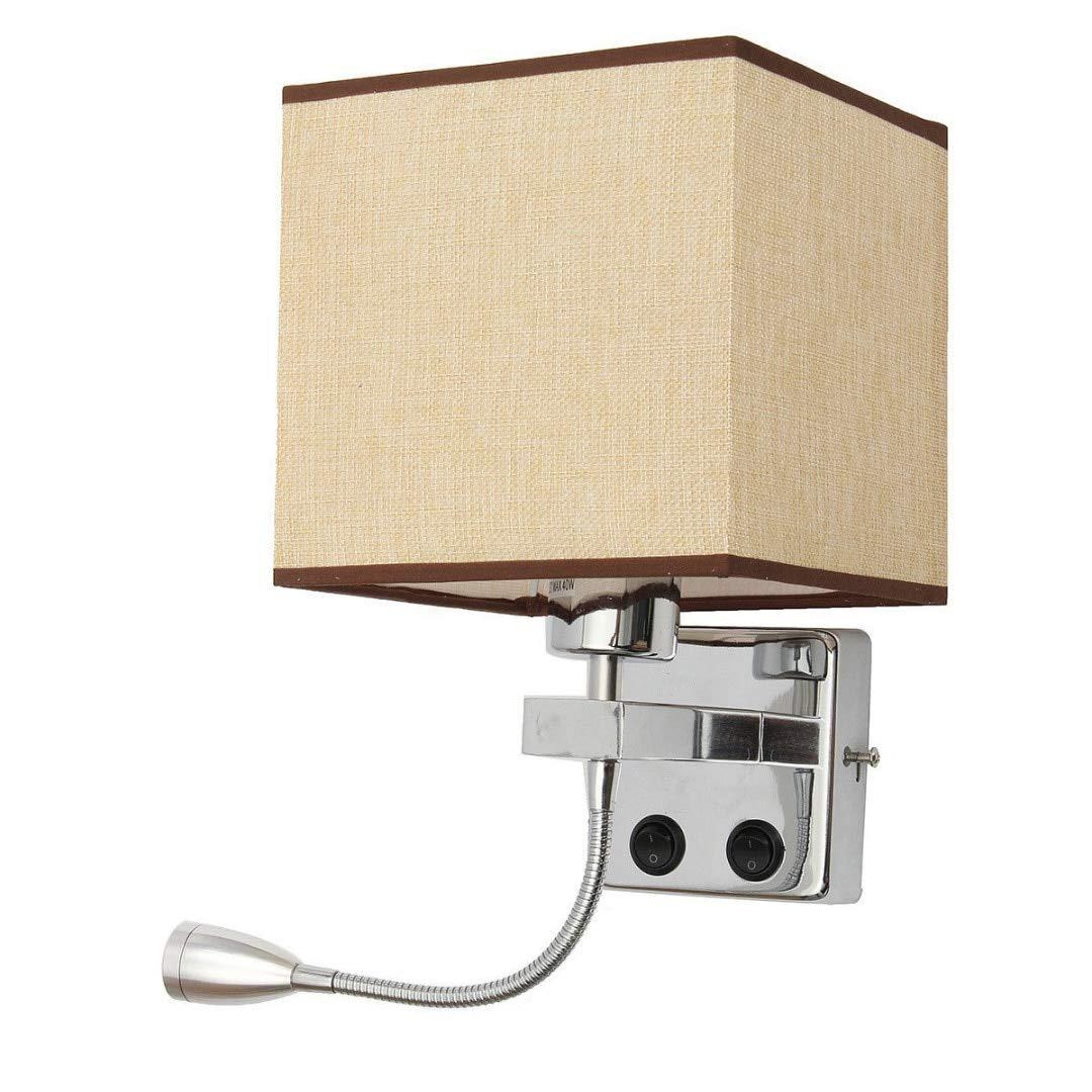 Flaxen HNZZN Moderne LED Schlafzimmer Nacht Wohnzimmer Hotel E27 Wandleuchte Nachtlampe, Flachs