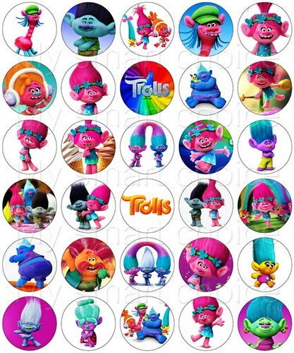 30 x Edible Cupcake Toppers - Trolls Movie Party Collection of Edible Cake Decorations | Uncut Edible Prints on Wafer Sheet