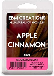 EBM Creations Scented All Natural Soy Wax Melts - 6 Pack Clamshell 3.2oz Highly Scented! (Apple Cinnamon)