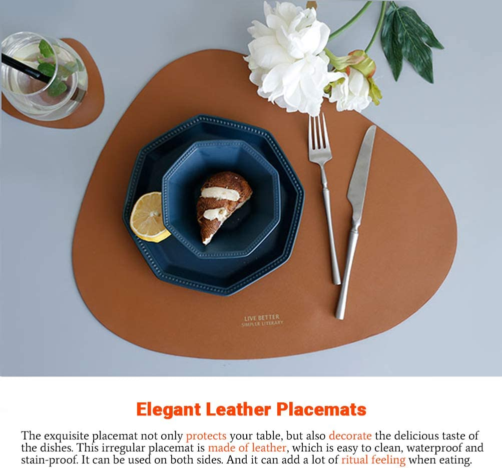 Faux Leather Placemats and Coasters Set, Round Leather for Dinner Table Mats Heat Resistant Non-Slip Washable Insulation Coffee Mats Kitchen Place Mats Nordic Style (Brown, 2 Placemats+2 Coasters): Home & Kitchen