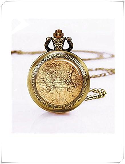 pocket-watch, Vintage mapa Reloj de bolsillo, reloj de plata mapa relojes de bolsillo, mundo collar,: Amazon.es: Joyería