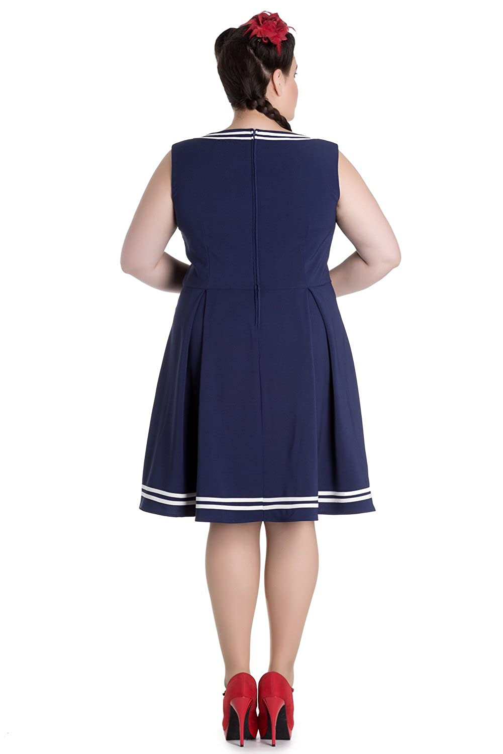 ff88492d322 Hell Bunny Plus Size Kawaii Navy Sailor Nautical Love Mini Dress at Amazon  Women s Clothing store
