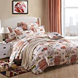 4pcs Vehicle Designs Children Bedding Set Duvet Cover Set Bed Sheet Pillowcase for Boys Twin Full Queen Size (Queen, Vehicle)