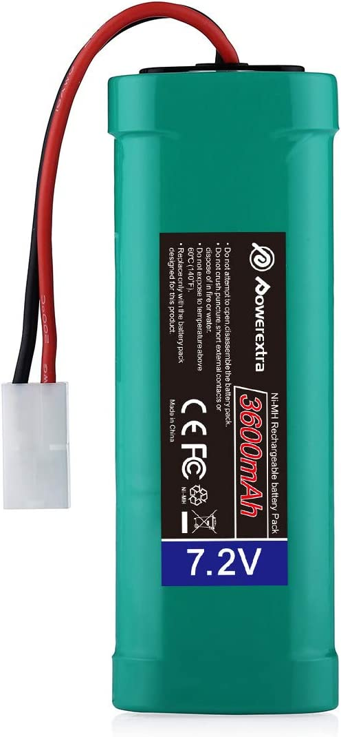 Powerextra 7.2V 3600mAh High Capacity Rechargeable 6-Cell NiMH Battery Pack Low-self Discharge with Standard Tamiya Connectors Compatiable RC Cars, RC Truck, RC Airplane, RC Helicopter, RC Boat: Home Audio & Theater