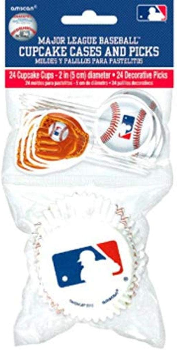 Amscan 141097 MLB Collection Cupcake Cases & Picks, Party Table Setting, 1 kit