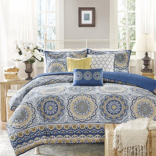 Madison Park Tangiers 6 Piece 2-in-1 Duvet Set, Blue, Full/Queen (Blue Comforter Sets And Full Brown)