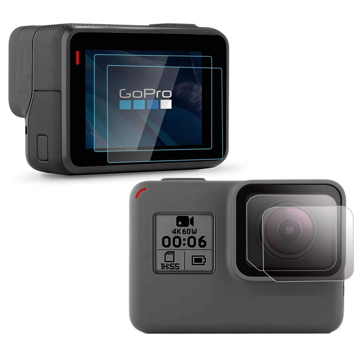 4 Pack PCTC Tempered Glass Screen Protector Compatible for Gopro Hero 7//6//5 Black Sport Action Camcorder Tough Screen and Lens Cap Cover for GoPro Hero 7 6 Black 5