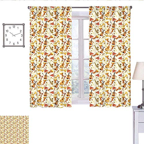 alisoso Jazz Music Blackout Curtain Pattern with Horn Drum Guitar and Fiddlestick Folk Music Ensemble Instruments Curtain Panels Multicolor W63 x L72]()