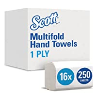 Scott Multifold Paper Towels (01804) with Fast-Drying Absorbency Pockets, White, 16 Packs / Case, 250 Multifold Towels / Pack