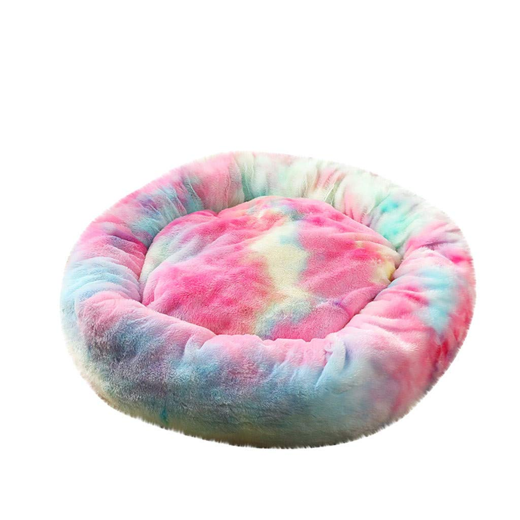 Faux Fur Pet Beds for Cats Dogs, Self Warming Round Dog Bed for Small Medium Dogs Donut Cuddler Modern Soft Plush Autumn Winter Snooze Sleeping Cozy Kitty Teddy Kennel (X-Large, Watermelon Red) by FunDiscount Shop