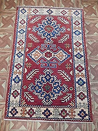 Amazon Com Organic Wool Area Rug 3x4 Kazak Carpet Handmade Kitchen