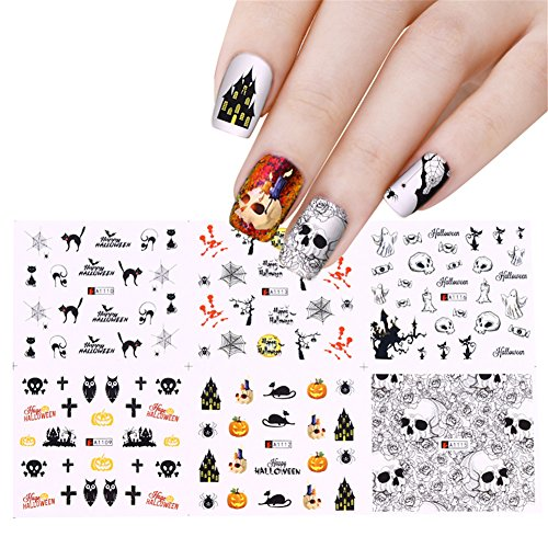 NICOLE DOARY 12 Sheets Halloween Water Decal Spider Skull Pumpkin Pattern Manicure Nail Art Transfer Stickers(A1105-A1116)