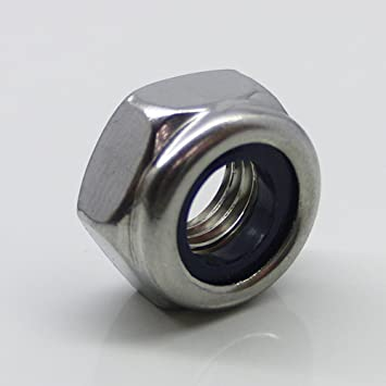 10 Stück Sicherungsmuttern DIN 985 V4A M10 Sechskantmutter A4 mit Sicherungsring