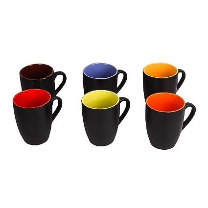 Anwaliya� Hand Made Black Outside Multi Inside Matt Finish Ceramic Mugs, Big (Set of 6 Pcs.)