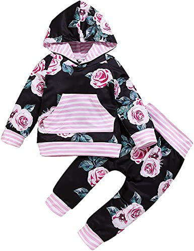 Baby Girls Long Sleeve Hoodie Floral Print Pocket Top+Pants Outfit Clothes 2pcs