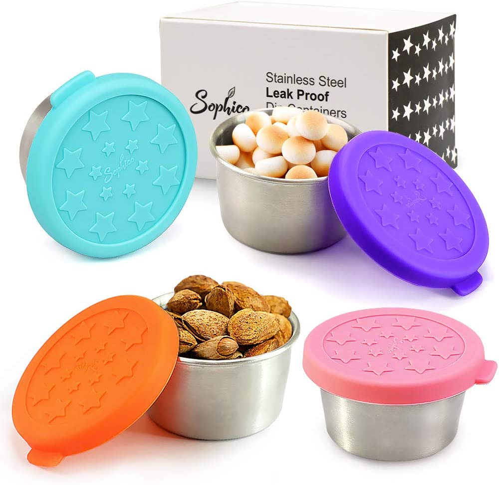 Stainless Steel Reusable Eco Dips Condiment Containers with Leakproof Silicone Lids, Kids Lunch Bento Box Sauce Container 1.5oz for Snack, Dessert, Salad Dressing, Baby Food (4 Color, 4 Pack)