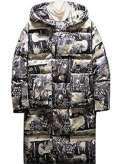 BOBOYU Mens Thermal Loose Fit Hoodie Floral Plus Size Down Coat Jacket Outerwear