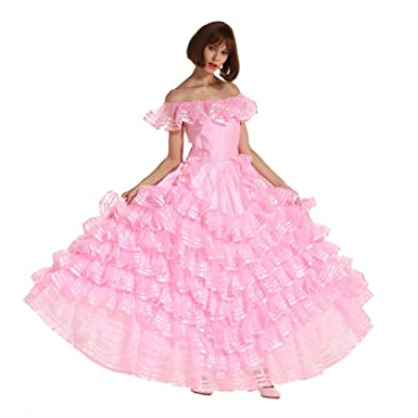 4743fb5b0ab Gocebaby Women Off Shoulder Sissy French Maid Puffy Long Prom Pink Dress  Uniform Crossdresser  Amazon.co.uk  Clothing