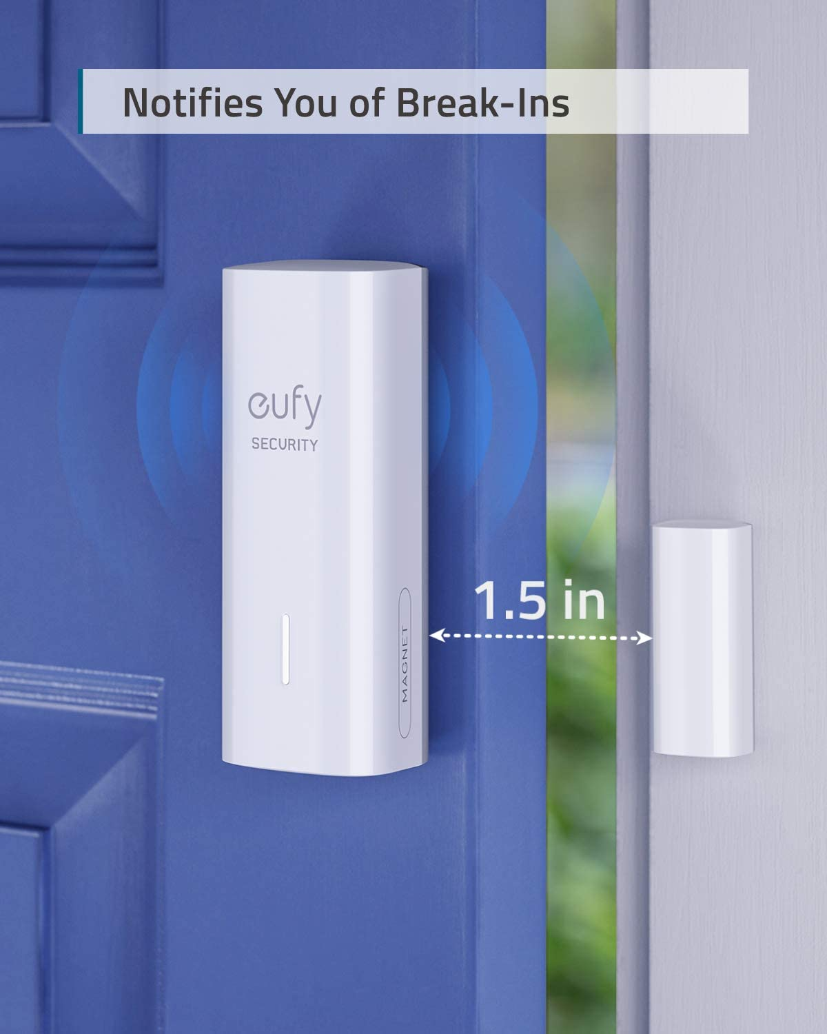 eufy Security Entry Sensor, Detects Opened and Closed Doors or Windows, Sends Alerts, Triggers Siren, 2-Year Battery Life, Indoor-use Only, Requires HomeBase or HomeBase E