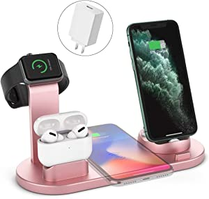 Wireless Charger, 4 in 1 Wireless Charging Station, Charging Dock for iPhone/AirPods, Fast Wireless Charging Stand iPhone 11/11Pro/11Pro Max/X/XS/XR/Max / 8/8 Plus Samsung(Rosegold)