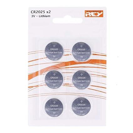 Pack de 6 Pilas CR2025 3V Alcalinas, Tipo Botón de Litio en Blister, Electrónica