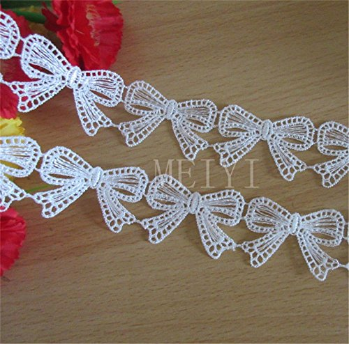 3 Meters Bowknot Lace Edging Trim Ribbon 3.5cm Width Vintage White Trimmings Fabric Butterfly Knot Embroidered Applique DIY Sewing Craft Wedding Bridal Dress DIY Card Gifts Party Clothes Decor