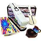 Pick-a-Palooza DIY Guitar Pick Punch with Leather Key Chain Pick Holder, 15 Pick Strips and a Guitar File - White/Silver