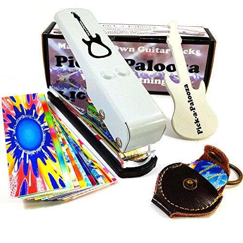 (Pick-a-Palooza DIY Guitar Pick Punch with Leather Key Chain Pick Holder, 15 Pick Strips and a Guitar File - White/Silver)