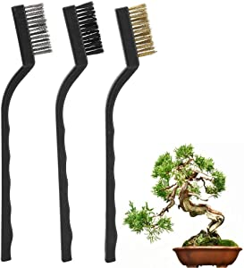Fdit 3pcs Mini Wire Brush Curved Handle Masonry Brush Wire Bristle for Cleaning Tree Trunk Burr Bonsai Brush Garden Cleaning Tool