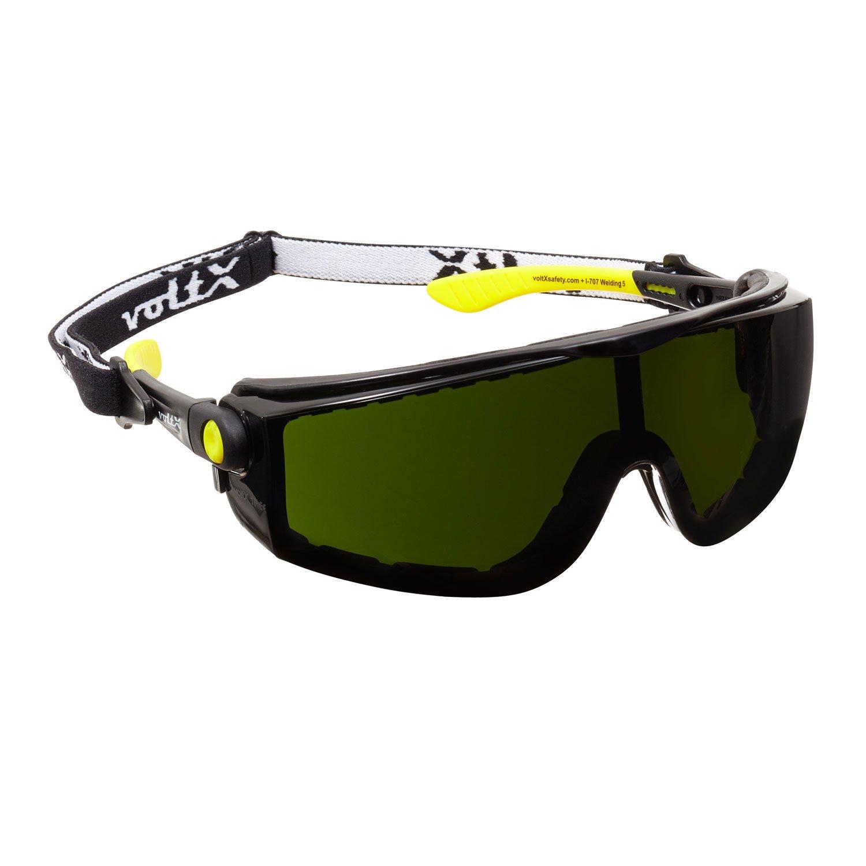 voltX 'Quad' 4 in 1 Schweißer-Schutzbrille mit Lesehilfe (+1,0 Dioptrien, Schweißertönung 3) - mit Schaumeinsatz und abnehmbares Kopfband - - CE EN166f Zertifiziert