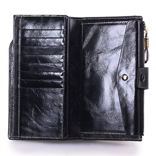 VentoMarea Women's RFID Blocking Large Capacity Luxury Waxed Genuine Leather Clutch Wallet Multi Card Organizer Ladies Purse by VentoMarea (Image #5)