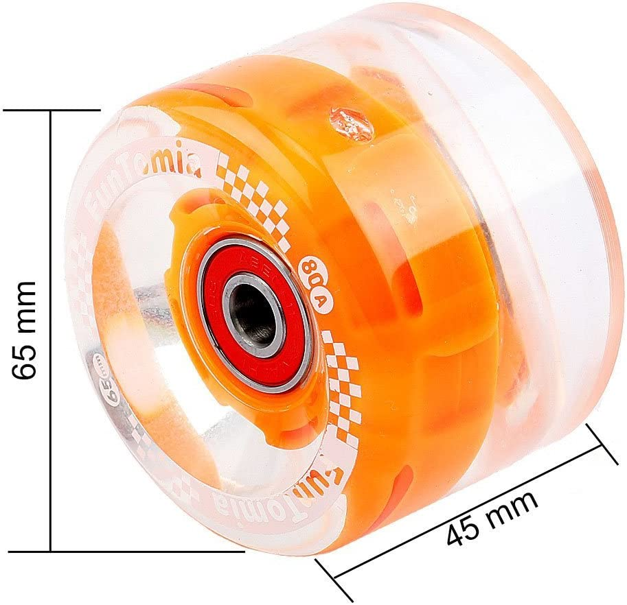 Lot de 4/grosses roues de skateboard ou longboard /à LED 65/x/45/mm duret/é 80/A 80/A avecroulements et espaceurs magn/étique Mach1/® FunTomia