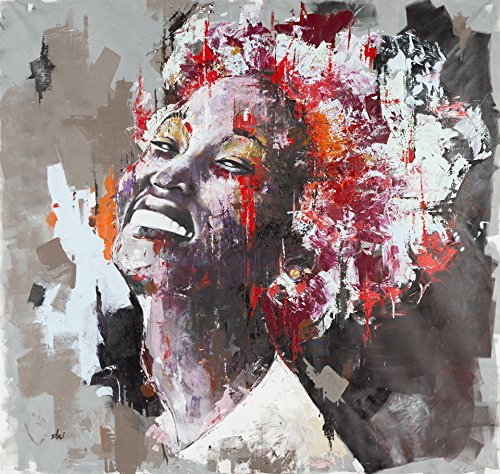 Shai Yossef 'Layla' EXTRA extra-large black american african woman BEAUTIFUL portrait oil painting print on canvas by the artist, wall decor art prints for livingroom great art UNFRAMED - Carlo Mirror Contemporary Monte