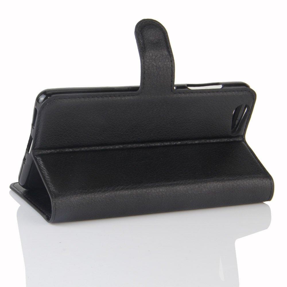 Guran® Funda de Cuero PU Para ZTE Blade V770 Smartphone Función de Soporte con Ranura para Tarjetas Flip Case Cover Caso-negro